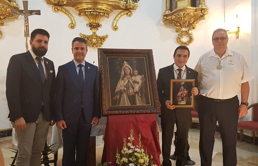 Cultura Cultura Brillante presentación del pintor Antonio Montiel, autor del Cuadro de Festividad 2019 de la Hermandad de la Virgen del Carmen de El Palo